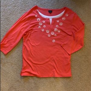 Trilllogy blouse with faux undershirt